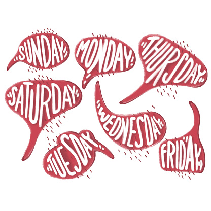 Days of week in vector red bubble speech. Sunday, Monday, Tuesday, Wednesday, Thursday, Friday, Saturday words for diary, bullet journal, notebook. Isolated on white background. Pencil effect.
