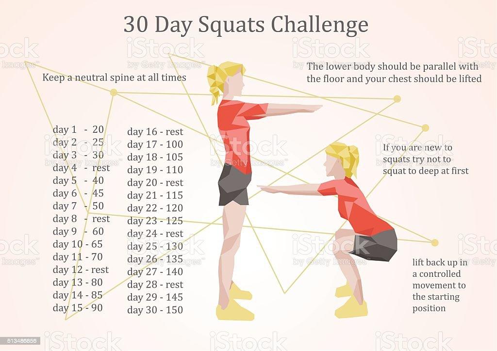 30 days squats challenge illustration