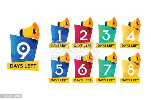 Days timer, coming soon concept. Set of number days left countdown vector illustration template, can be use for promotion, sale, landing page, template, ui web, mobile app, poster, banner and flyer.