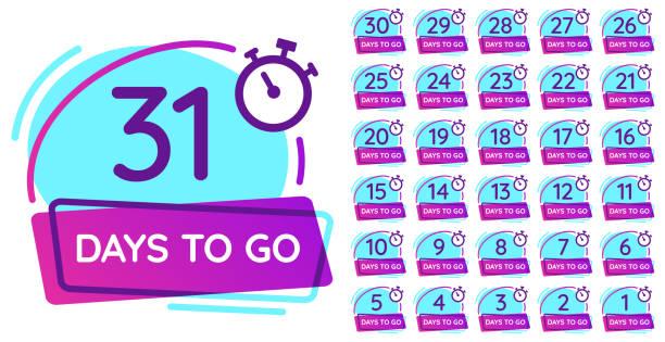 illustrations, cliparts, dessins animés et icônes de jours pour aller badge. compte à rebours de jour ouvrable, compteur de date de sortie et insigne de nombre de minuterie ensemble d'illustration vector - calendrier de l'avant
