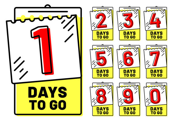 illustrations, cliparts, dessins animés et icônes de jours pour aller de badges. insigne du compte à rebours, nombre de jour à gauche et aller timestamp isolé vector illustration jeu - calendrier de l'avant