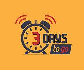3 days to go countdown icon with alarm clock. Marketing promo icon