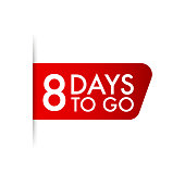 8 days to go  red ribbon. Vector stock illustration.