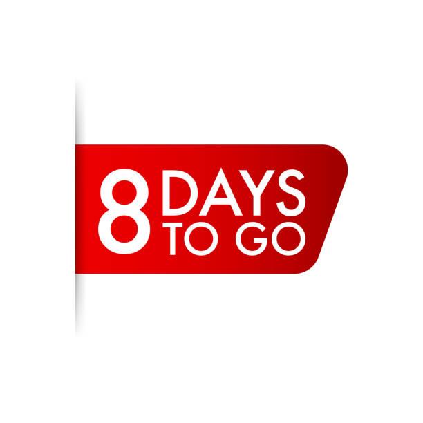 illustrazioni stock, clip art, cartoni animati e icone di tendenza di 8 days to go  red ribbon. vector illustration. - mancino