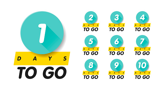 1, 2, 3, 4, 5, 6, 7, 8, 9, 10, days to go. Vector flat illustration. Group pictogram.