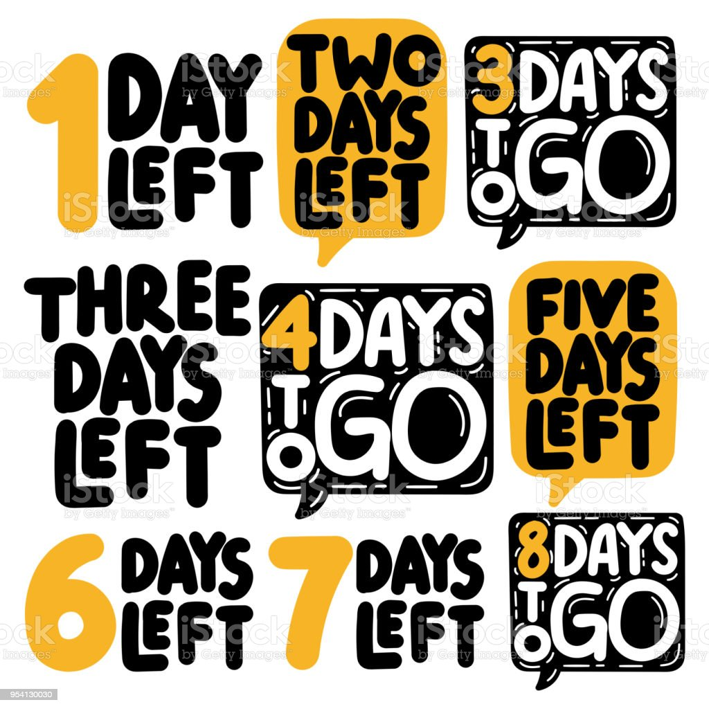1,2,3,4,5,6,7,8 days to go. Vector illustrations on white background. vector art illustration