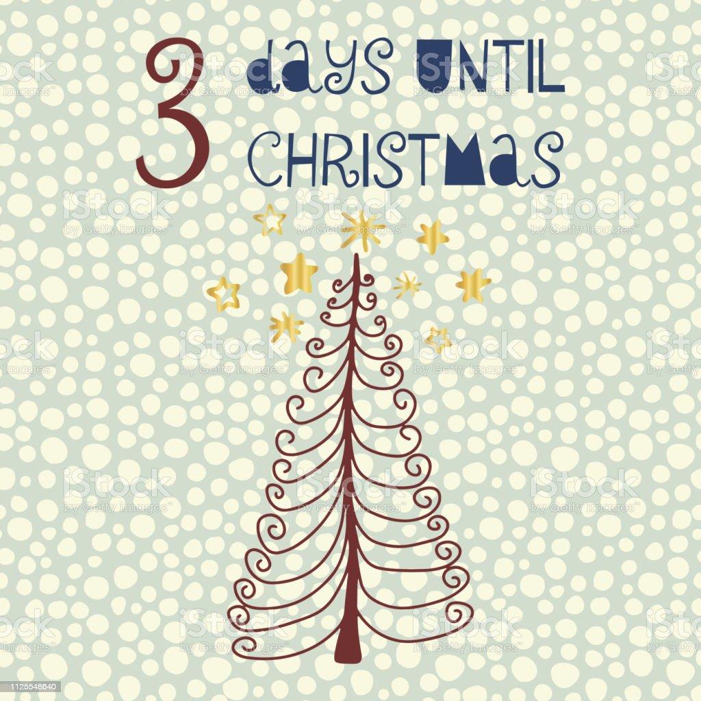Tage Bis Weihnachten.3 Tage Bis Weihnachten Countdown Vektorgrafiken Stock Vektor