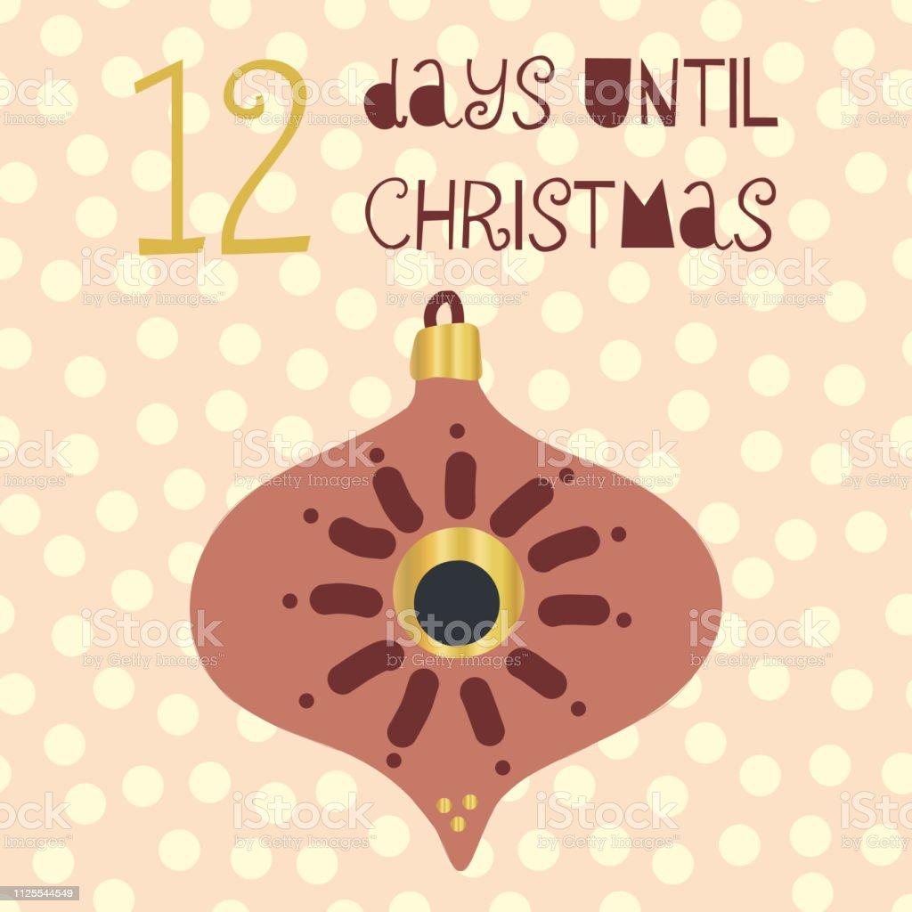 Tage Bis Weihnachten.12 Tage Bis Weihnachten Vektorillustration Stock Vektor Art