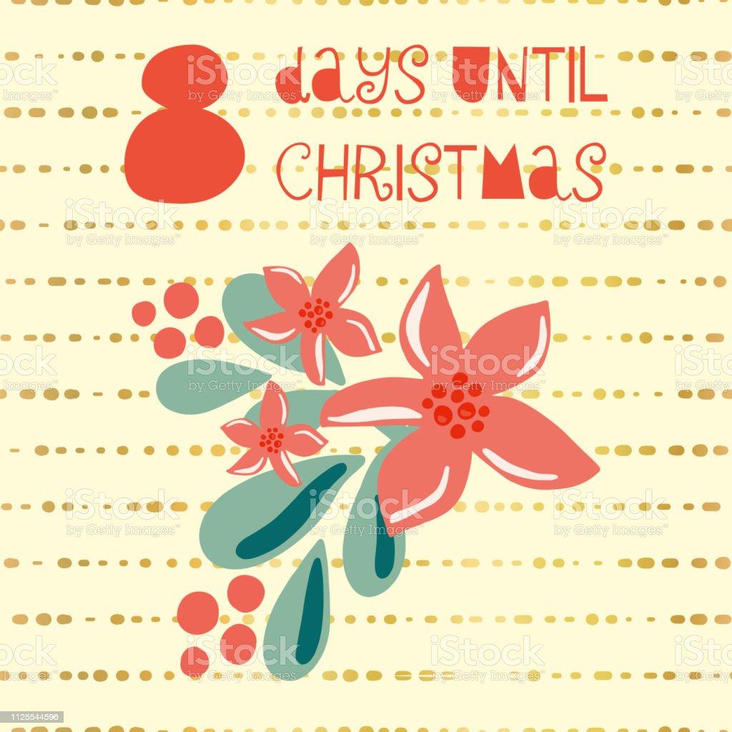 Tage Bis Weihnachten.8 Tage Bis Weihnachten Vektorillustration Stock Vektor Art