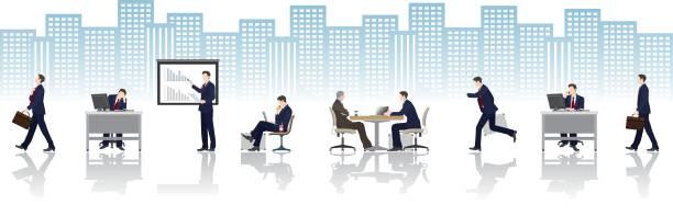 一日の仕事/実業家 - ビジネスマン点のイラスト素材/クリップアート素材/マンガ素材/アイコン素材