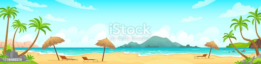 istock Daytime beach landscape. Sandy beaches with tropical palms. Sunny day, on beautiful sunset, sunrise and at night cartoon vector illustration 1219489329