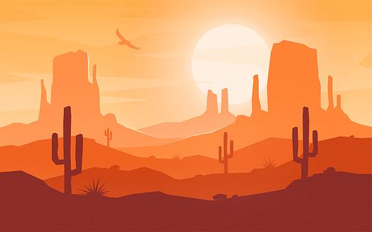 Daytime cartoon flat style desert landscape.