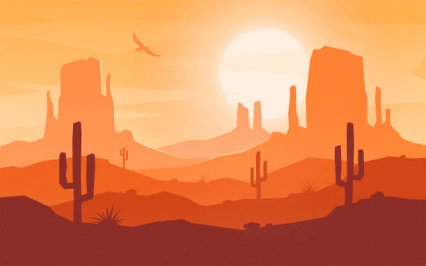 Daytime cartoon flat style desert landscape. vector art illustration