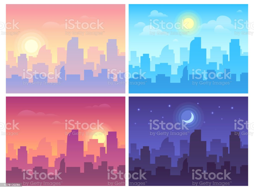 Daytime cityscape. Morning, day and night city skyline landscape, town buildings in different time and urban vector background - Векторная графика Архитектура роялти-фри