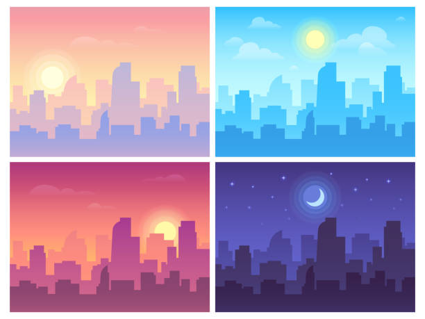 Daytime cityscape. Morning, day and night city skyline landscape, town buildings in different time and urban vector background Daytime cityscape. Morning, day and night city skyline landscape, town buildings in different time and urban cityscape town sky. Architecture silhouette vector background collage set dusk stock illustrations