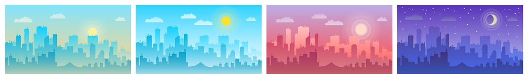 Daytime cityscape. Morning, day and night city skyline landscape, town buildings