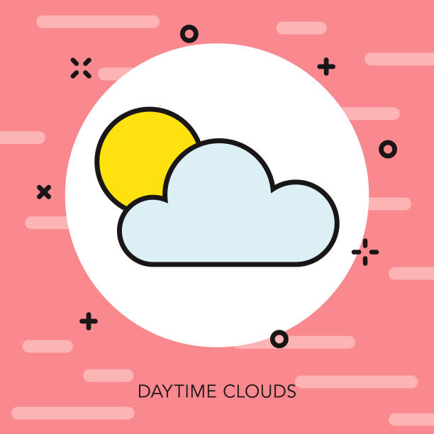 昼間の雲の薄い線夏アイコン - 細線のフォント点のイラスト素材/クリップアート素材/マンガ素材/アイコン素材