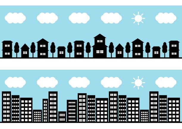 Daytime townscape Daytime townscape community clipart stock illustrations