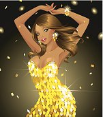 Vector Illustration of a sexy African girl dancing in sequined gold dress. This super glamorous character is perfect for any dance party / music related projects. File can be scaled to any size.