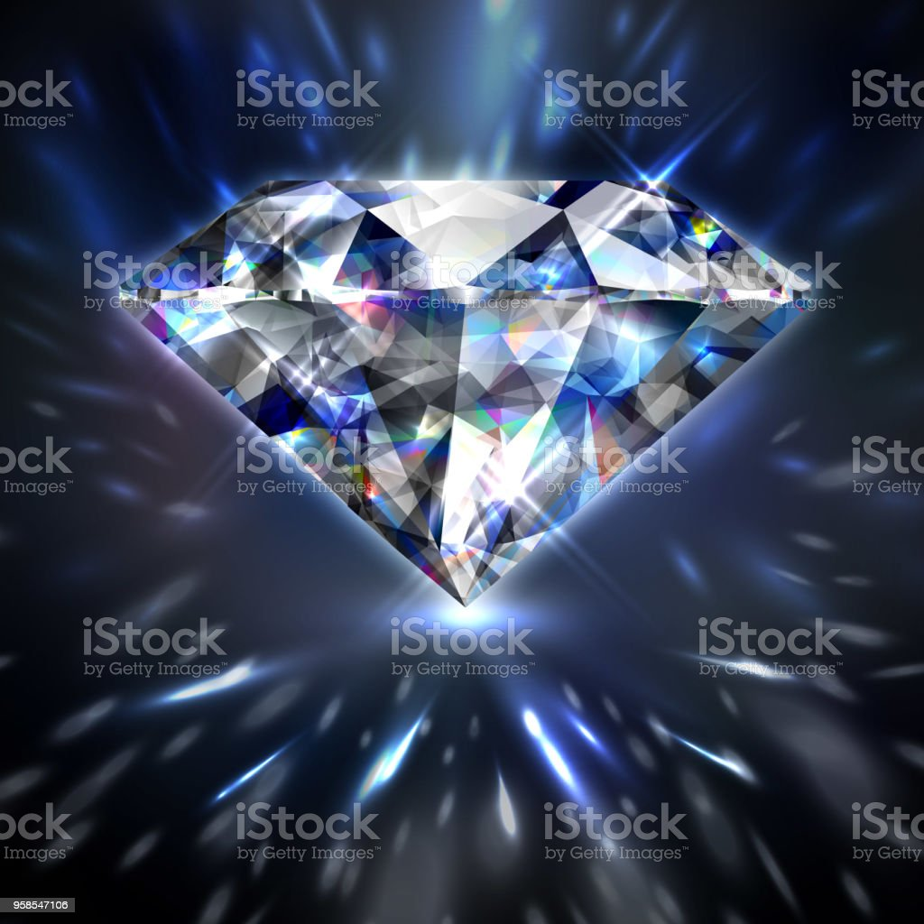 Dazzling shiny colorful diamond vector art illustration