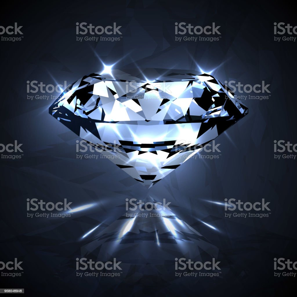 Dazzling shiny crystal clear diamond with sparkles  - eps10 vector art illustration