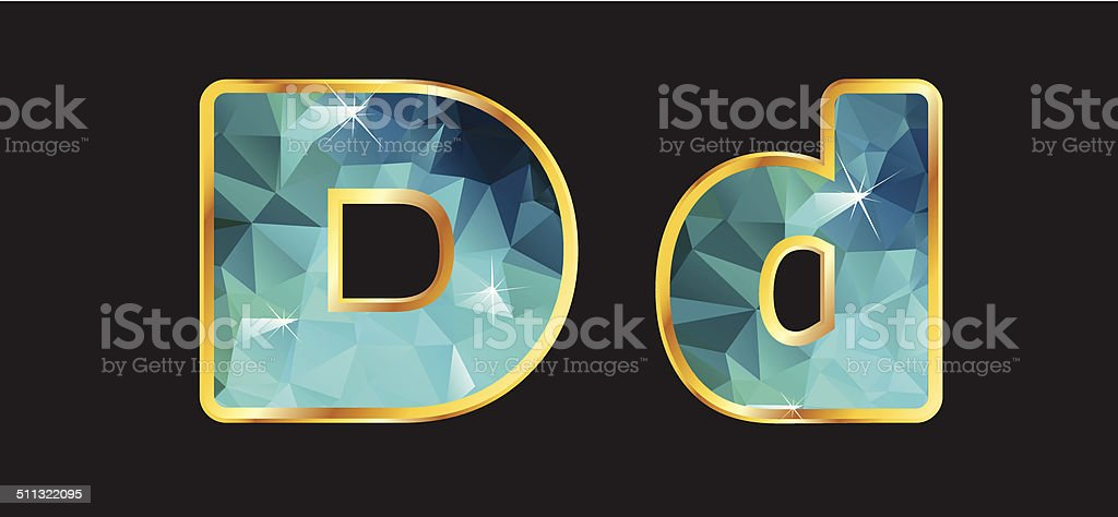 Dd with Gold and Teal vector art illustration