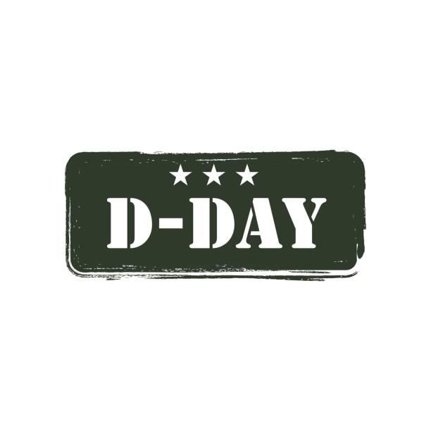 d-day logo vector template design - world war ii stock illustrations, clip art, cartoons, & icons