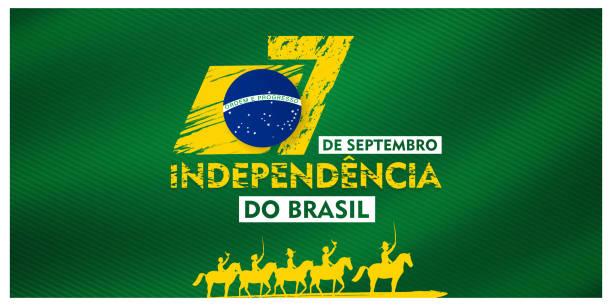 7 de setembro, 独立したドブラジル, (翻訳: 9月7日, ブラジルの独立記念日), ビルボード, ポスター, ソーシャルメディア, グリーティングカードテンプレートベクトルイラスト - 独立点のイラスト素材/クリップアート素材/マンガ素材/アイコン素材