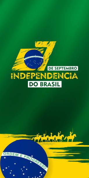 7 de setembro, 獨立巴西, (翻譯: 9月7日, 巴西獨立日), 看板, 海報, 社交媒體, 賀卡範本向量插圖 - 獨立 幅插畫檔、美工圖案、卡通及圖標