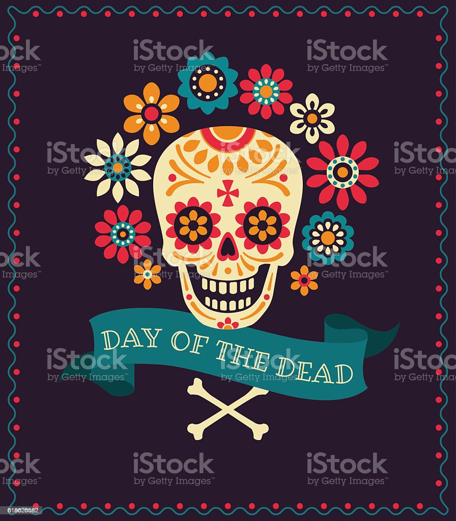 Dea de los muertos vector art illustration