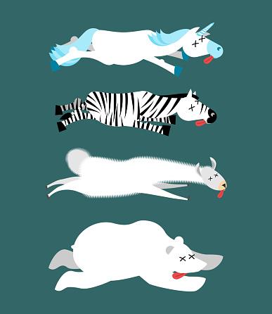 Dead animals set 1. Unicorn and zebra. Llama and polar bear. animal is death. Corpse of Beast