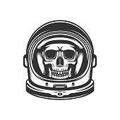 Dead astronaut. Skull in spacesuit