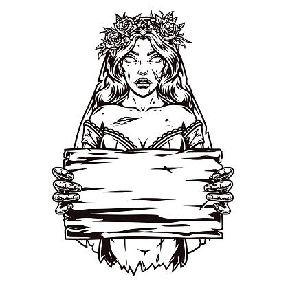Dead bride holding blank wooden plank