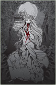 Dead bride. Zombie girl with a sewn up mouth, blood stained hands and dress sitting on a toumbstone. Gothic style poster with decorative frame and background