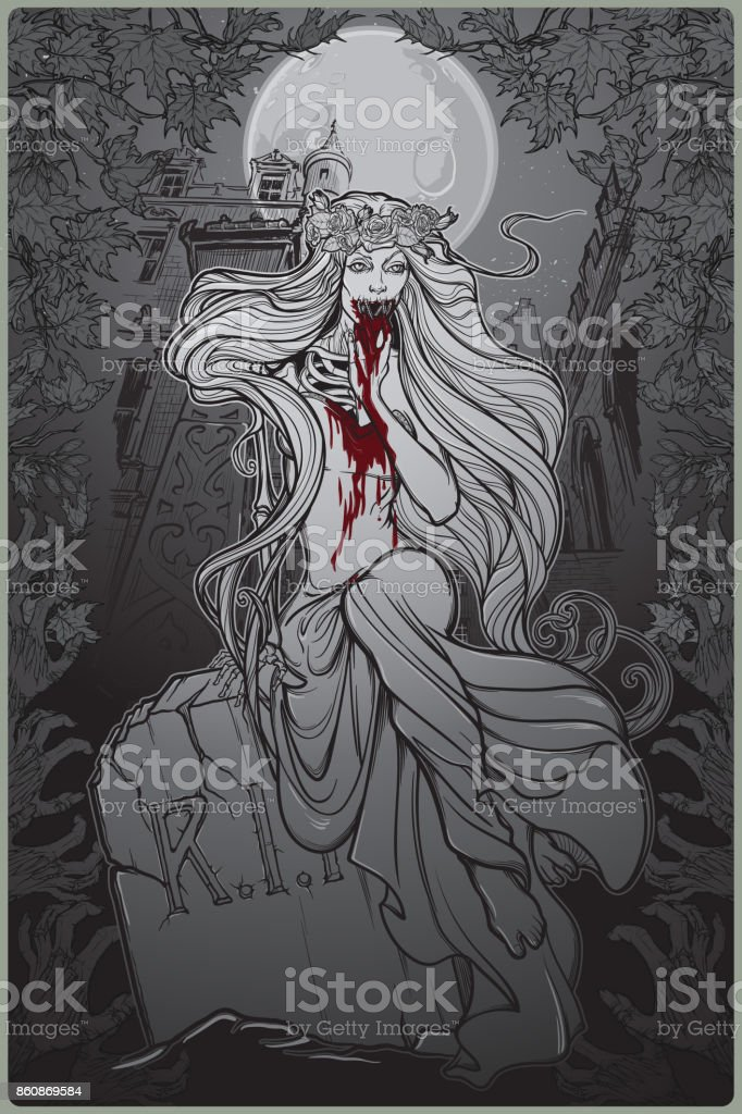 Dead bride. Zombie girl with a sewn up mouth, blood stained hands and dress sitting on a toumbstone. Gothic style poster with decorative frame and background vector art illustration
