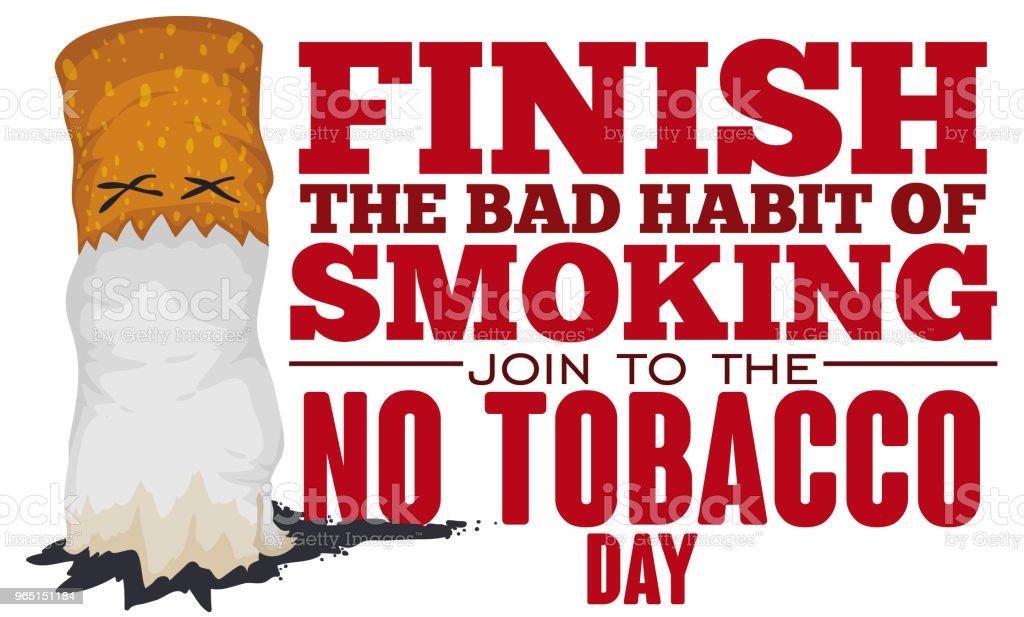 Dead Cigarette Finished in the No Tobacco Day Event dead cigarette finished in the no tobacco day event - stockowe grafiki wektorowe i więcej obrazów baner royalty-free