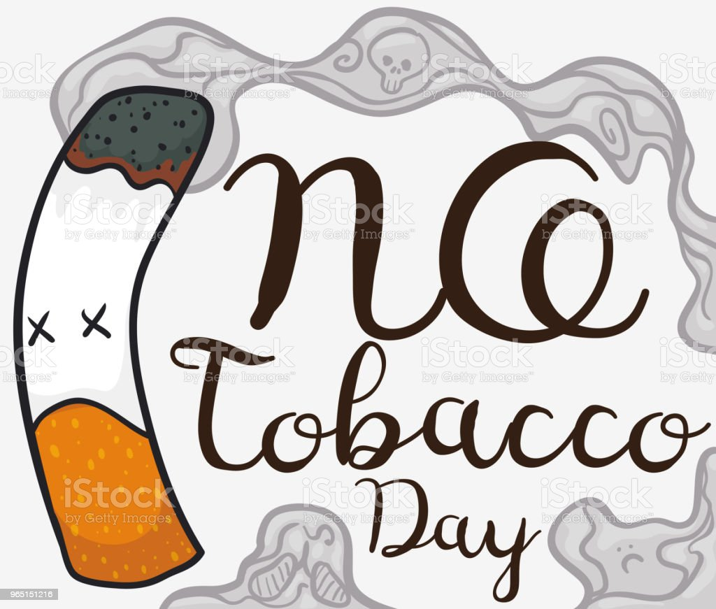 Dead Cigarette with Doodles in Smoke for No Tobacco Day royalty-free dead cigarette with doodles in smoke for no tobacco day stock vector art & more images of addict