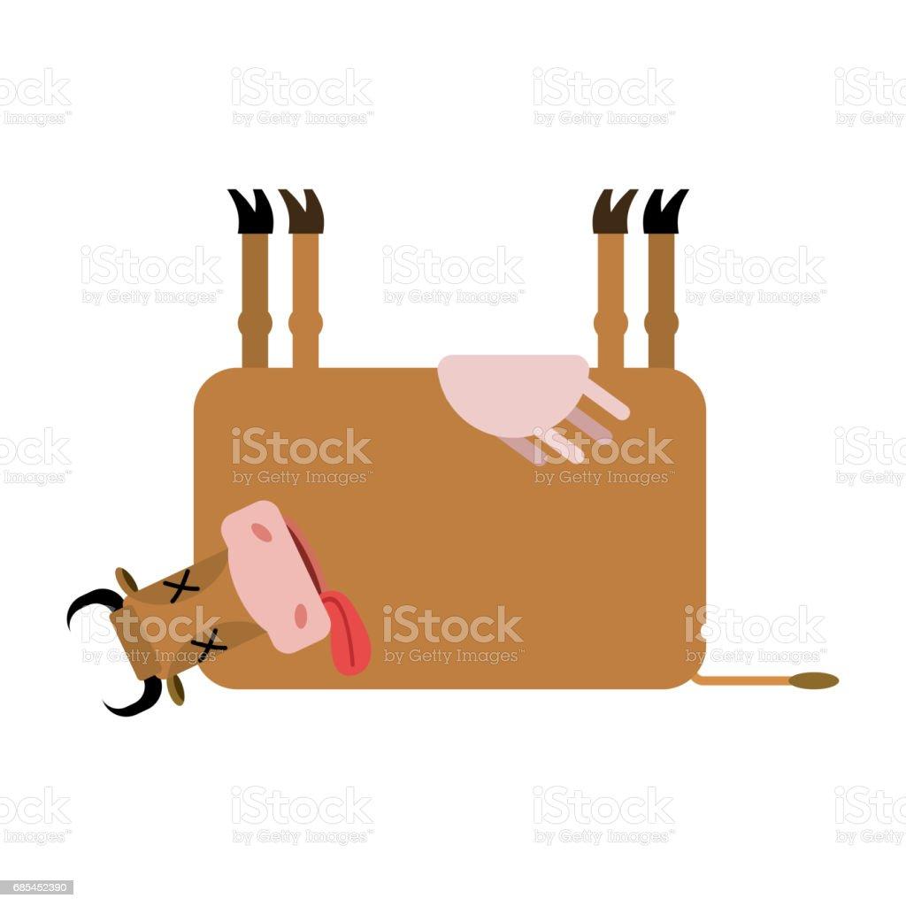 Dead cow. Farm animal dead. Corpse cattle vector art illustration