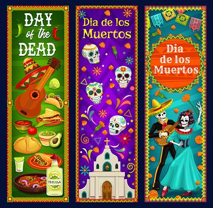 Dead Day sugar skulls, mariachi skeleton, Catrina