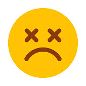 istock Dead Emoticon Icon on Transparent Background 1284287657