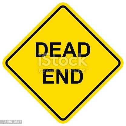 istock Dead end, traffic sign, yellow color, eps. 1345919814