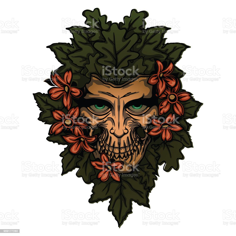 Dead Face In Flower Bouquet Mascot Stock Vector Art More Images Of