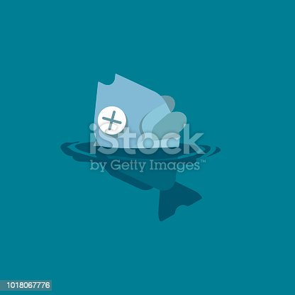 istock Dead fish floating by poisoning due to toxic spills, chemicals, fuels, oils, and plastics in the aquatic environment. Vector flat illustration. 1018067776