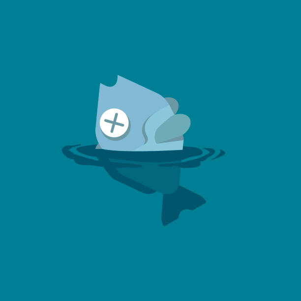 Dead fish floating by poisoning due to toxic spills, chemicals, fuels, oils, and plastics in the aquatic environment. Vector flat illustration. Dead fish floating by poisoning due to toxic spills, chemicals, fuels, oils, and plastics in the aquatic environment. Vector flat illustration. death stock illustrations