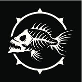 Dead fish skeleton (pirate banner). High resolution PNG file(in white and black color variants without background)  is also added.