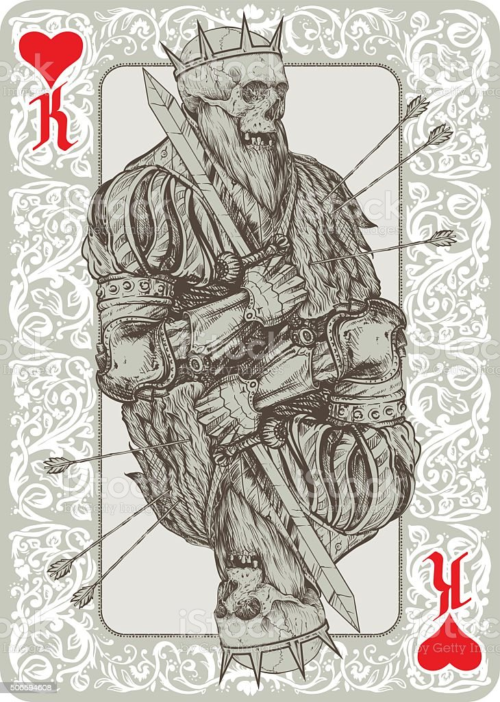 Dead King Playing Cart vector art illustration