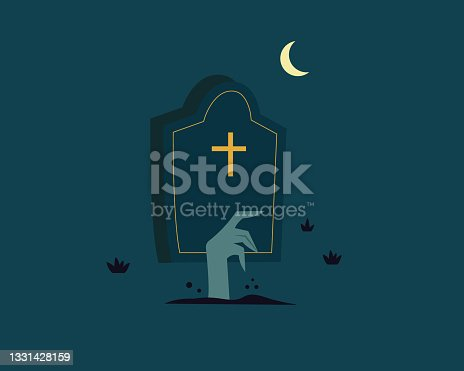 istock Dead man arms from the ground in the cemetery. Scary Halloween concept. Zombie hand, tombstone. Vector illustration flat style 1331428159
