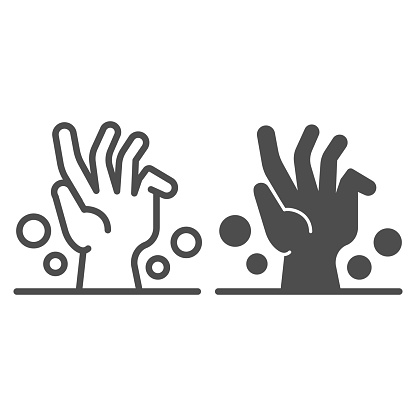 Dead man hand under ground line and solid icon, halloween concept, zombie hand breaking out from under ground sign on white background, corpse hand icon in outline style. Vector graphics.