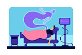 Dead man in hospital flat color vector illustration. Male body and soul in medical clinic. Patient ghost 2D cartoon character with wheeled bed and cardiogram monitor on background