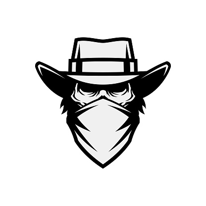 Dead man in mask and cowboy hat cut out vector icon